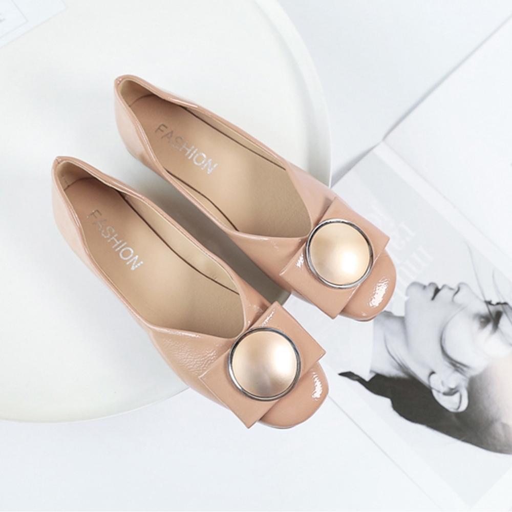 KEITH-WILL時尚鞋館 柔美愛戀金屬飾品平底鞋 粉