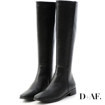 D+AF 完美焦點.顯瘦感素面方頭長靴*黑