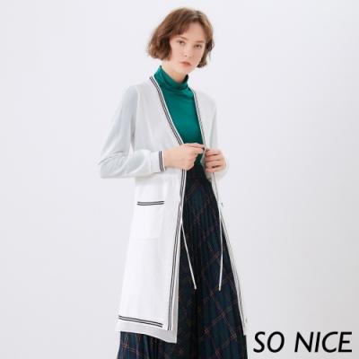 SO NICE時尚拼接雪紡長罩衫