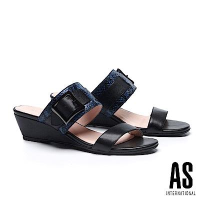 拖鞋 AS 金屬風異材質拼接牛皮楔型低跟拖鞋-黑