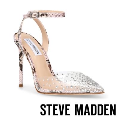 STEVE MADDEN-REVERT 水鑽透明繞踝細跟高跟鞋-蛇皮粉