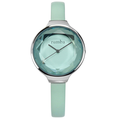 rumba time 紐約品牌 切割玻璃鏡面 日本機芯 真皮手錶-水藍色/30mm