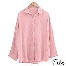 翻領格紋長袖襯衫 共五色 TATA