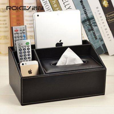 歐式桌面 皮質多功能收納盒 遙控器 面紙 手機收納