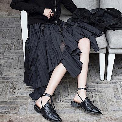 設計所在Style-暗黑風鏤空韓版不規則百褶中長裙