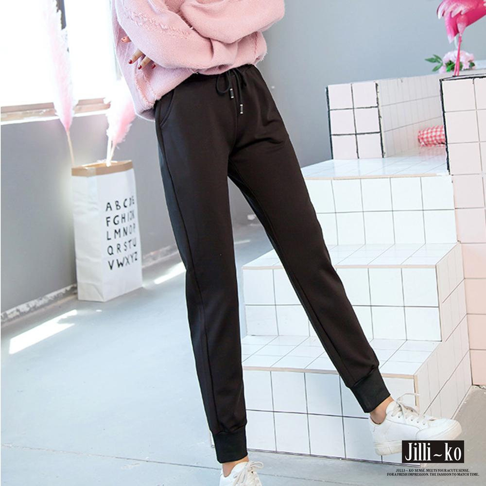 Jilli-ko 素色綁帶小腳運動褲-黑