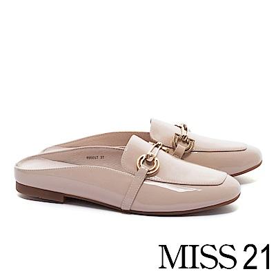 低跟鞋 MISS 21 經典俐落飾釦方頭樂福穆勒低跟鞋-米