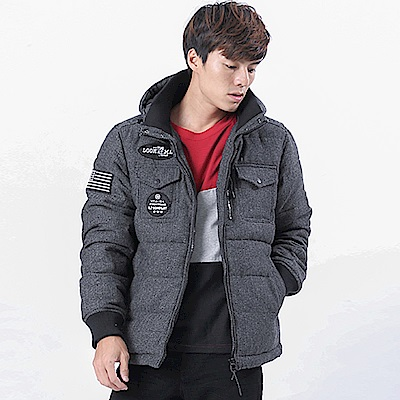 BIG TRAIN 人字紋拆脫帽絲棉外套-男-鐵灰