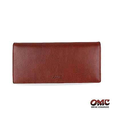 OMC 原皮系列-植鞣牛皮二折透明窗零錢長夾-咖啡色
