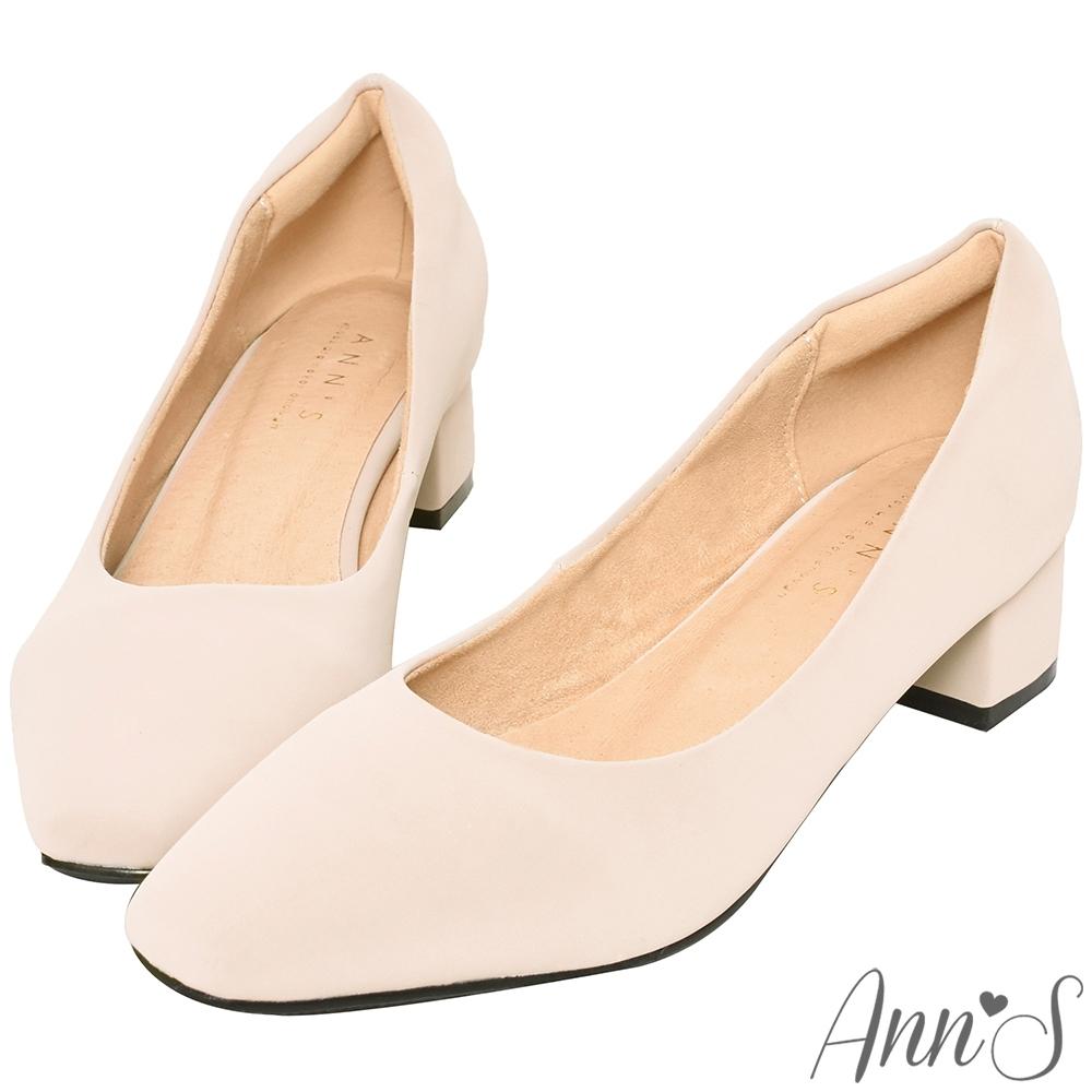 Ann'S真的很舒服-霧面皮革粗跟小方頭鞋-杏