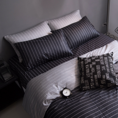 OLIVIA  艾德蒙 深灰 標準雙人床包美式枕套三件組 200織精梳純棉 台灣製