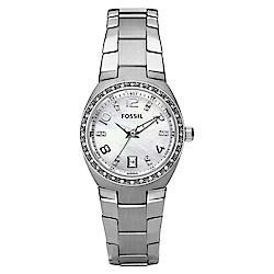 FOSSIL 詩芮娜點鑽皇室風鋼帶石英女錶(AM4141)-珍珠色x28mm