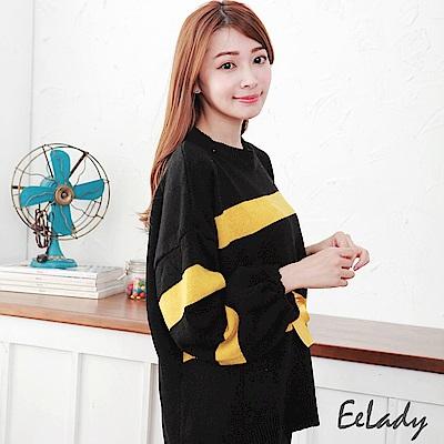 EELADY-寬版袖綁帶橫條毛衣-黑黃