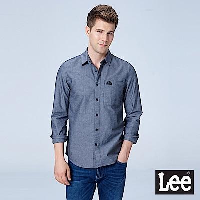 Lee 後背條紋織帶休閒長袖襯衫/RG-黑色