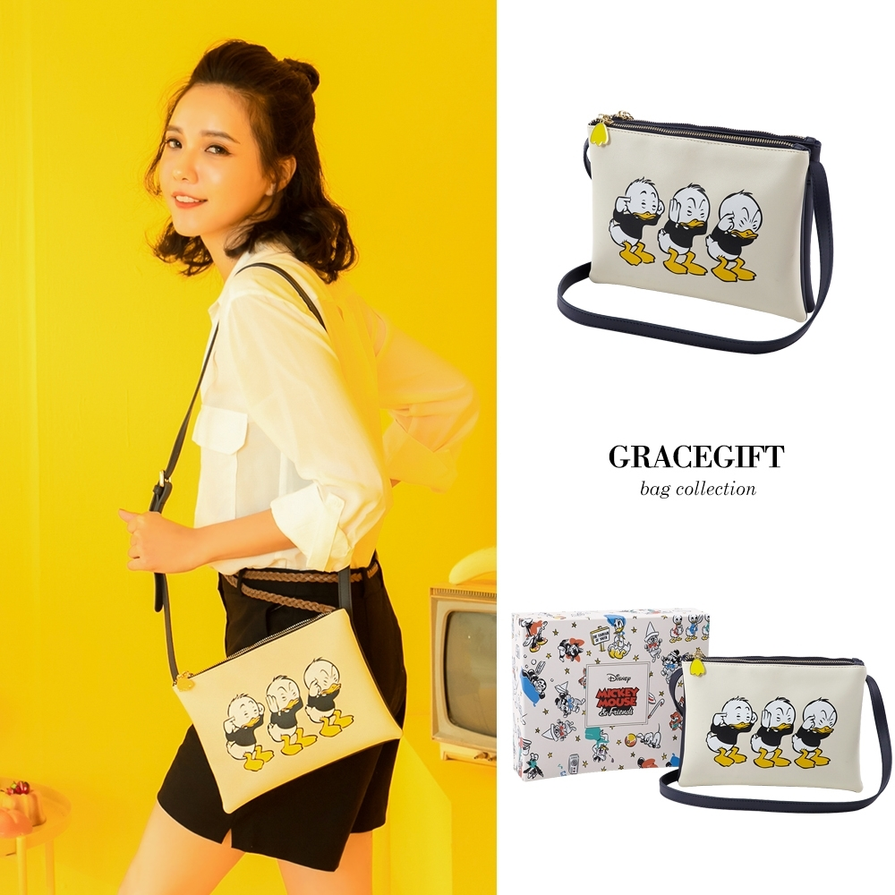 Disney collection by gracegift唐老鴨家族雙層側背包 白 product image 1