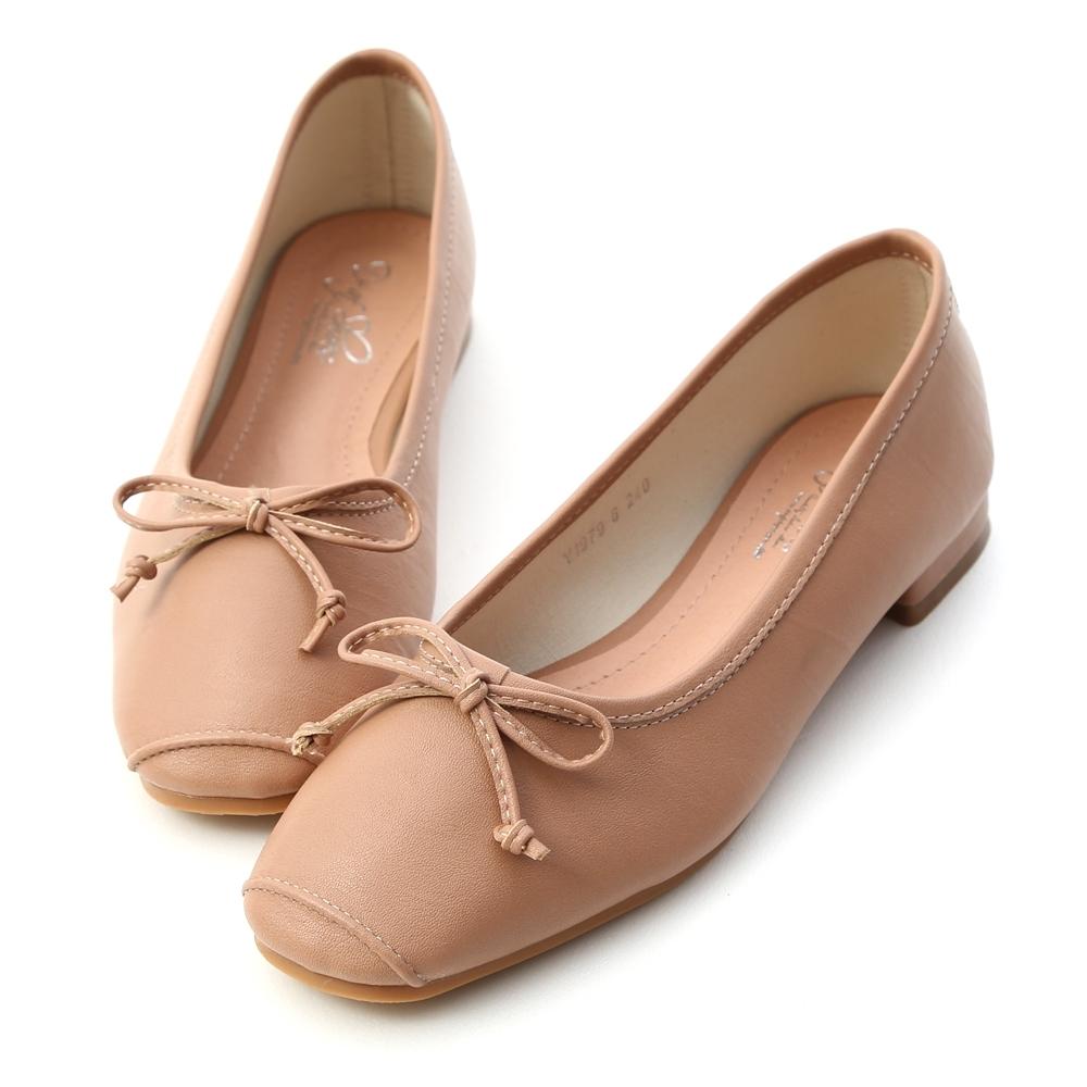 D+AF 優雅甜心.方頭低跟芭蕾娃娃鞋*粉