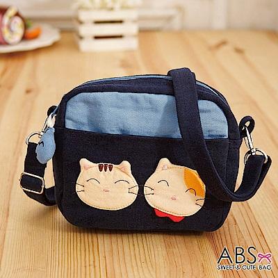 ABS貝斯貓 SIMPLE STYLE微笑貓咪拼布 小型側背包(海藍)88-181