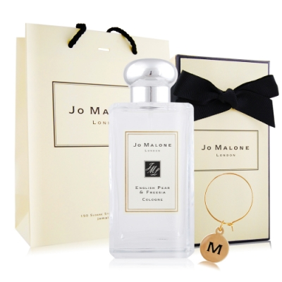 Jo Malone 英國梨與小蒼蘭香水100ml[含外盒+緞帶+提袋]+限定字母吊飾