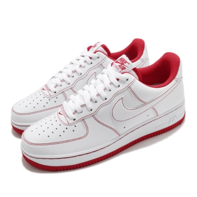 Nike 休閒鞋 Air Force 1 07 運動 男女鞋 經典款 AF1 皮革質感 簡約 情侶穿搭 白 紅 CV1724100