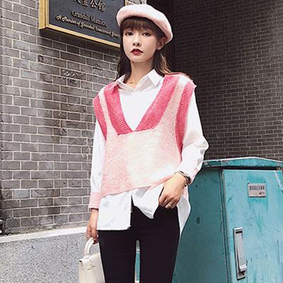 V領針織背心+翻領單排扣襯衫兩件套 (共三色)-Kugi Girl