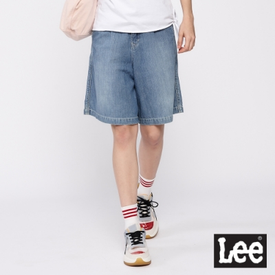 Lee 高腰牛仔百慕達褲 牛仔短褲 女款 淺藍色