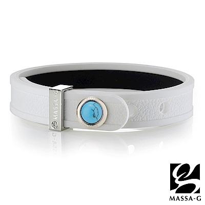 MASSA-G ONLY U唯你天然石鍺鈦手環-品牌革紋(白)