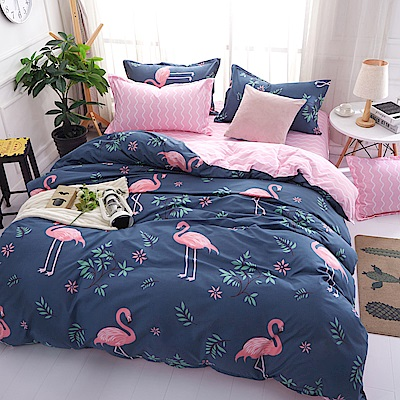 La Lune 台灣製經典超細雲絲絨雙人加大床包枕套3件組 紅鶴韓風