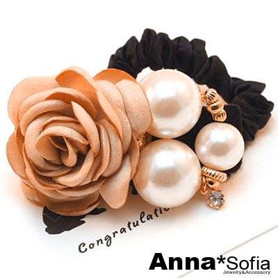 【3件480】AnnaSofia 層綻茶花款 純手工彈性髮束髮圈髮繩(香檳系)