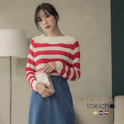東京著衣 多色簡約百搭微透條紋針織上衣(共三色)