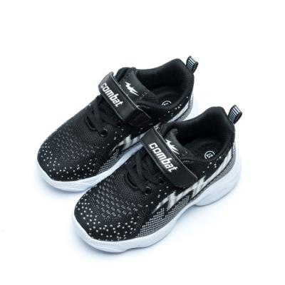 艾樂跑 Combat 童鞋 TD-6281 魔鬼氈飛織運動鞋 -黑/粉