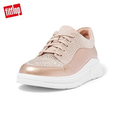 【FitFlop】FREYA CRYSTAL EMBELLISHED SNEAKERS 運動風繫帶休閒鞋-女(玫瑰金)