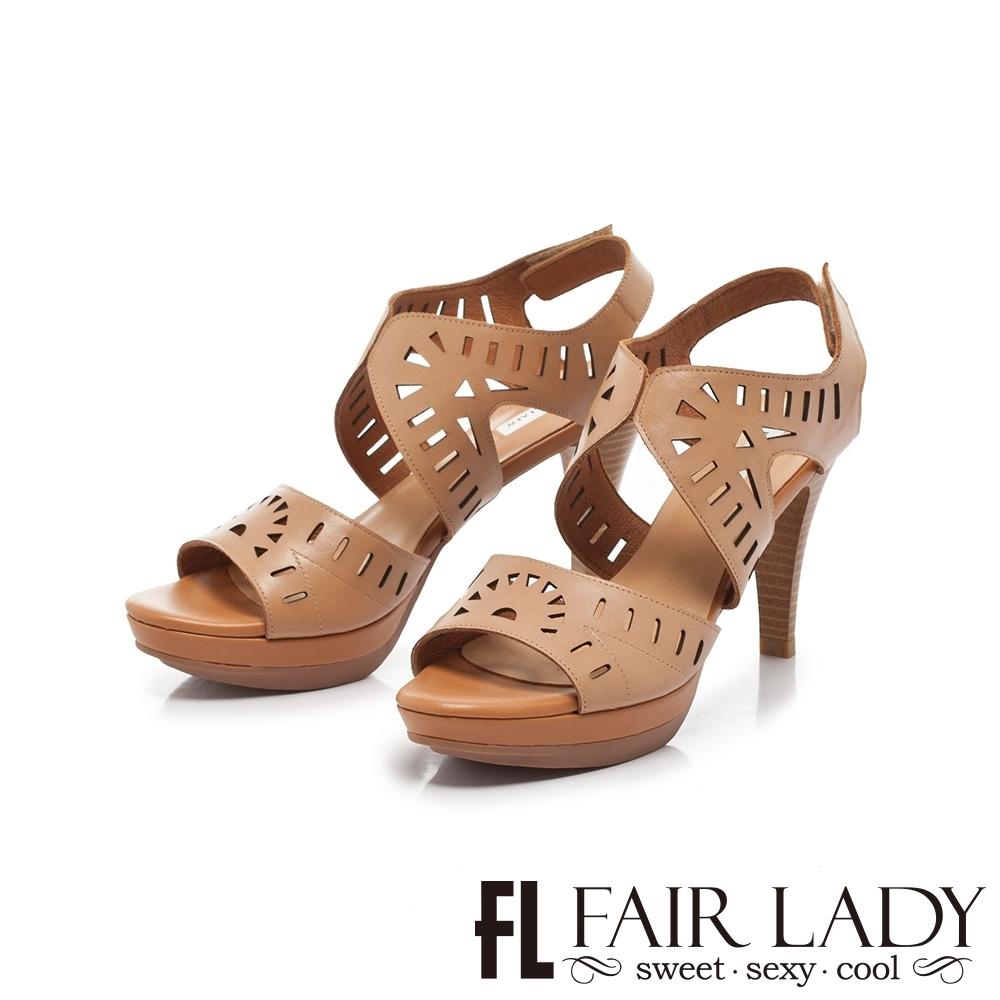 FAIR LADY Early Summer幾何鏤空造型高跟涼鞋 棕