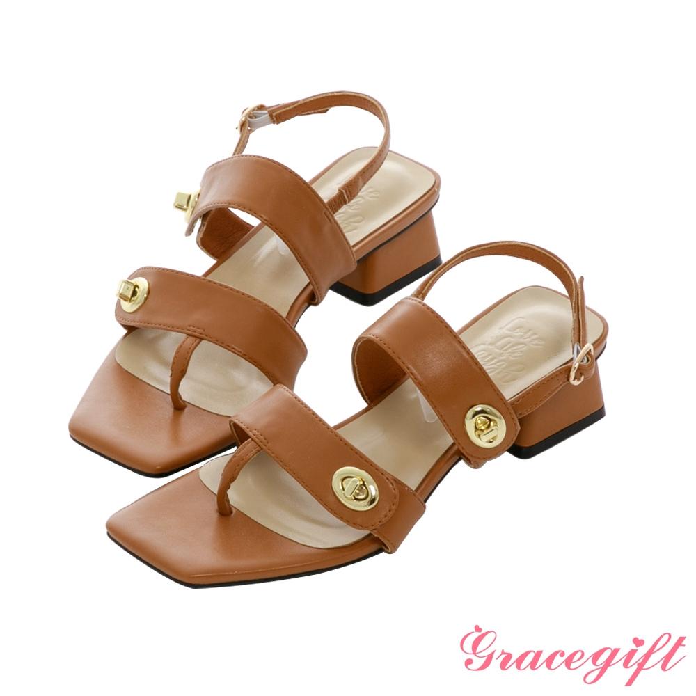 Grace gift X Kerina-聯名方頭轉釦夾腳低跟涼鞋 棕