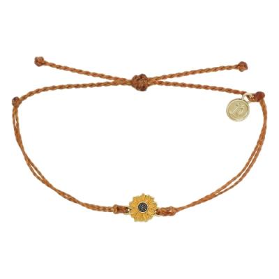 Pura Vida 美國手工 金色太陽花 橘咖蠟線可調式手鍊衝浪海灘防水手繩