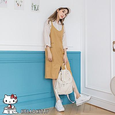 野餐系列~KITTY印圖下襬開衩高含棉肩帶洋裝-OB嚴選