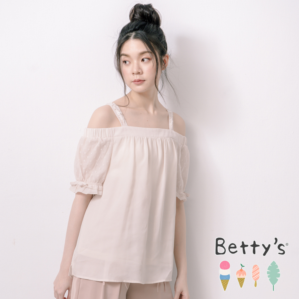 betty's貝蒂思 一字領肩帶縫珠雪紡上衣(淺卡其)