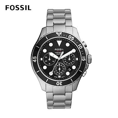 FOSSIL FB - 03 三眼計時黑鏡潛水男錶 銀色不鏽鋼錶帶 46MM FS5725