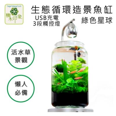 積木印象 活水草生態紓壓懶人魚缸 生態瓶造景系列 (綠色星球 USB充電式三段觸控燈款)