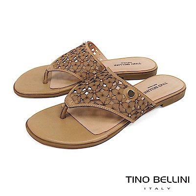 Tino Bellini 巴西進口雷射鏤花鉚釘夾腳涼拖鞋 _ 棕