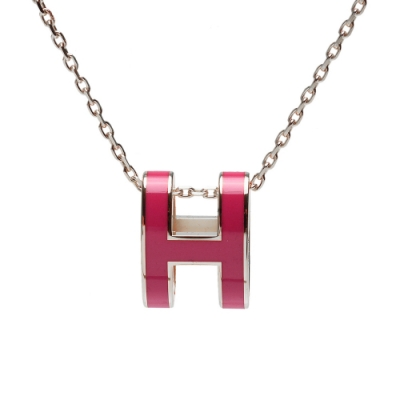 HERMES 經典Pop H立體簍空橢圓LOGO項鍊(覆盆莓紅X銀)