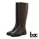 【bac】中性時尚 - 簡約率圓頭直筒長靴-咖啡