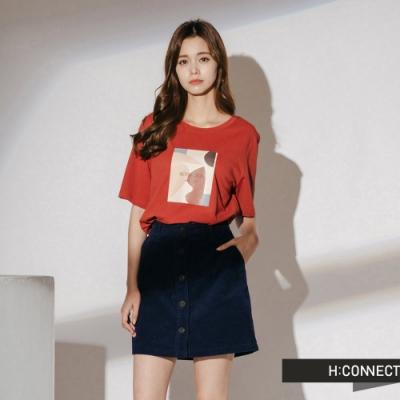 H:CONNECT 韓國品牌 女裝-撞色色彩標語短T-橘棕色