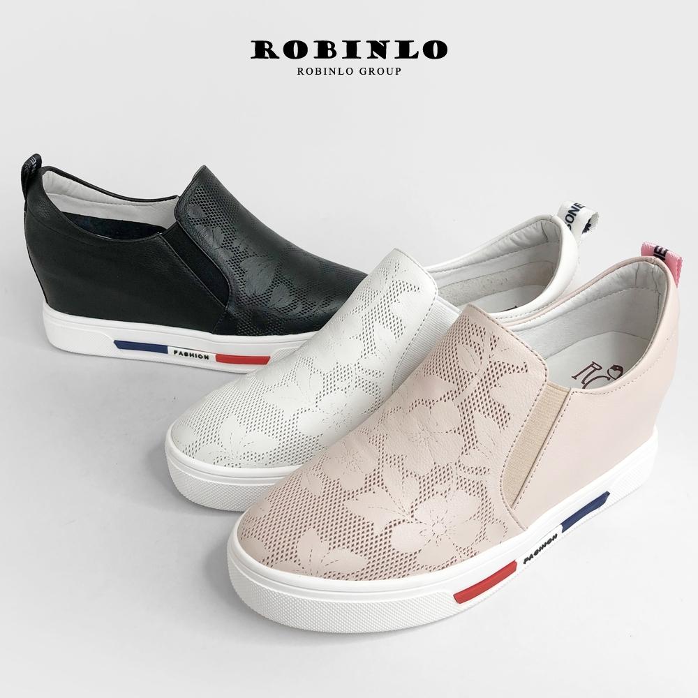 Robinlo春夏壓花牛皮內增高厚底休閒鞋 黑/白/粉