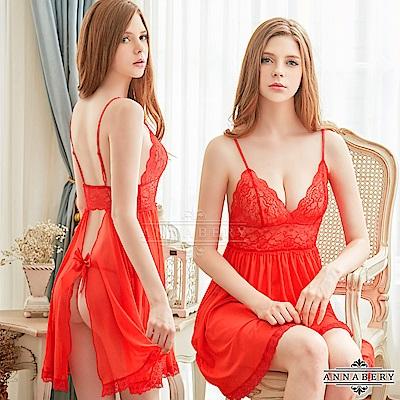 大尺碼 狂野紅深V蕾絲柔紗二件式性感睡衣 紅 L-2L Annabery