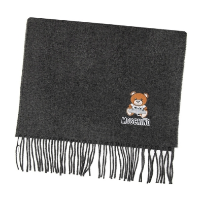 MOSCHINO 電動泰迪熊字母LOGO圖案100%羊毛圍巾/披肩 深灰色