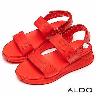 ALDO 原色寬版一字鏤空繫帶魔鬼氈式厚底涼鞋~濃郁橘紅