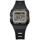CASIO 10年電力 慢跑 運動 方型 計時 電子 橡膠手錶-黑色/34mm