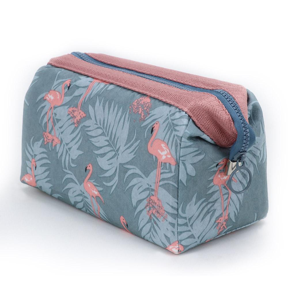 旅遊首選 印花鐵架大容量化妝包 收納袋 旅行包 隨身包 洗漱包(粉紅火鶴)