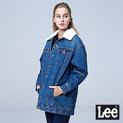 Lee 可拆式毛領厚背刺繡牛仔外套/101+-中藍色