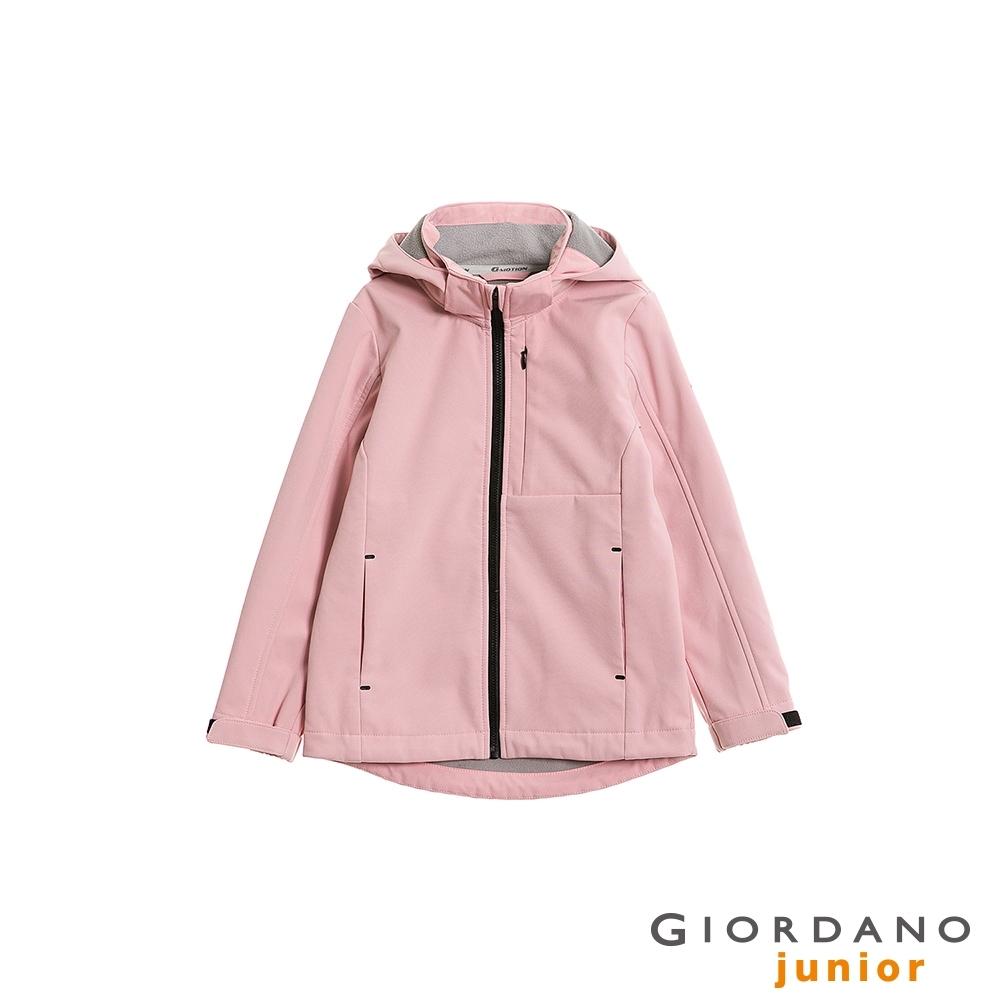 GIORDANO 童裝softshell輕刷毛連帽防風外套-22 石英粉紅